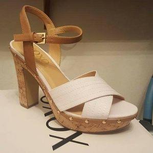 Xoxo white cork platform heels